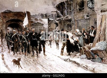 Alphonse Marie Deneuville, known as De Neuville French school German members of Parliament entering Belfort on February - Stock Photo