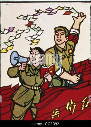 Propaganda poster, during the Chinese cultural revolution. The Red Guards China 1966 - Stock Photo