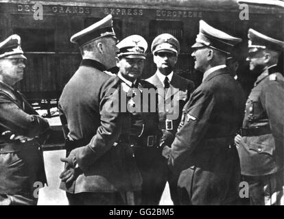 Hitler's visit in occupied Paris. At the centre: Goering, Rudolf Hess and Adolf Hitler 1940 France - Second World - Stock Photo