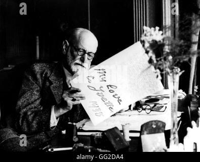 Sigmund Freud (1856-1939) Austrian neurologist. Founder of Psychoanalysis. Portrait, 1938. - Stock Photo