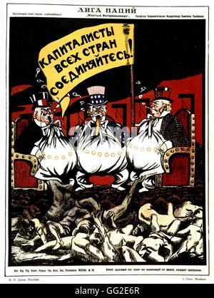 V. Deni Soviet Propaganda poster 'Capitalists of all countries! Unite!' 1918-1923 U.S.S.R. - Stock Photo