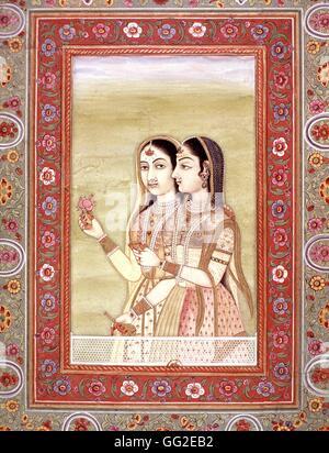 Indian miniature Two women 18th century India - Stock Photo