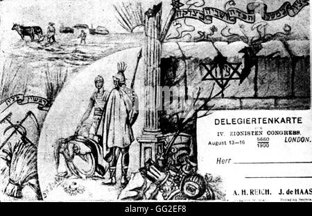 Delegate card and postcard for the 4th Zionist Congress in Basle 1900 Zionism Bibliothèque de l'Alliance israélite - Stock Photo