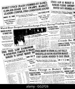 New York. Various front pages of newspapers during the Wall Street crisis 1929 United States New York. Public library - Stock Photo