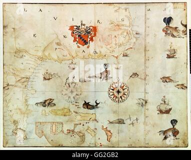 John White English school Map of North America: Virginia and Florida 1585-1593 Pencil, ink and watercolour on paper - Stock Photo