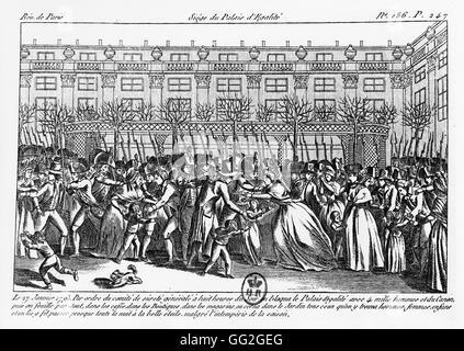 Siege of the Palais de l'Egalité in Paris on January 27, 1793, the day after Lepeletier Saint-Fargeau, Montagnard - Stock Photo