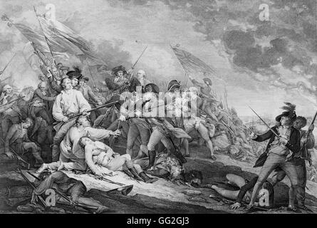 Engraving of 'The Death of General Warren at the Battle of Bunker's Hill, June 17, 1775' after the painting by John - Stock Photo