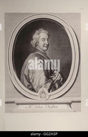 Gérard Edelinck, after Godfrey Kneller French school John Dryden, (1631- 1700), English poet and playwright Engraving - Stock Photo