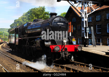 Black 5, 4-6-0, Number 44806 steam engine of the NYMR at Grosmont station. - Stock Photo