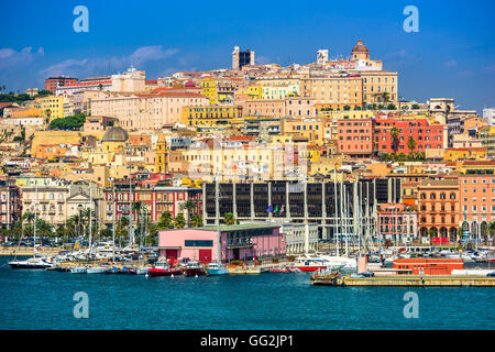 Cagliari, Sardinia, Italy coastal skyline on the Mediterranean Sea. - Stock Photo