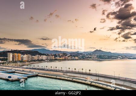 Malaga, Spain resort skyline at Malagueta Beach. - Stock Photo