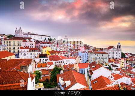 Lisbon, Portugal twilight cityscape at the Alfama District. - Stock Photo