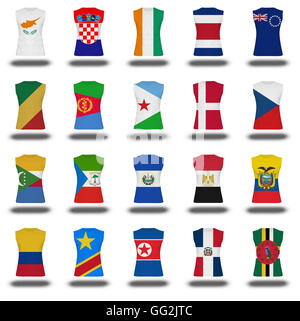 compilation of nationals flag shirt icon on white background part 310 - Stock Photo
