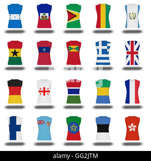 compilation of nationals flag shirt icon on white background part 410 - Stock Photo