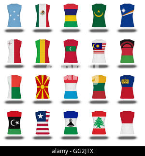 compilation of nationals flag shirt icon on white background part 610 - Stock Photo