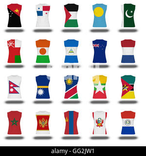 compilation of nationals flag shirt icon on white background part 710 - Stock Photo