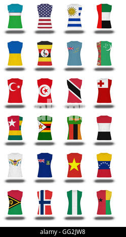 compilation of nationals flag shirt icon on white background part 1010 - Stock Photo
