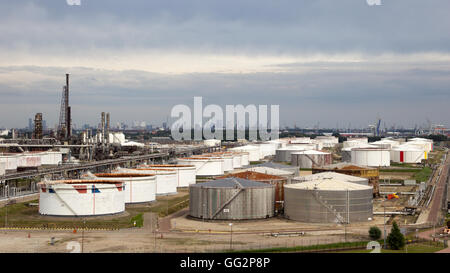 Oil refinery in the Port of Rotterdam. Highrise of the city is visible in the background.