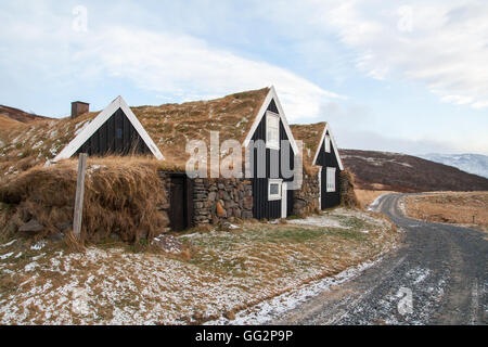 Iceland historical turf houses - Stock Photo