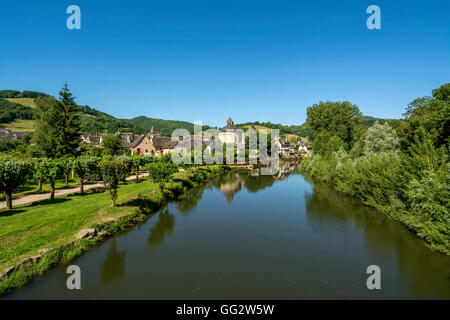 Sainte Eulalie d'Olt on river Lot, labelled Les Plus Beaux Villages de France, Aveyron, , France - Stock Photo