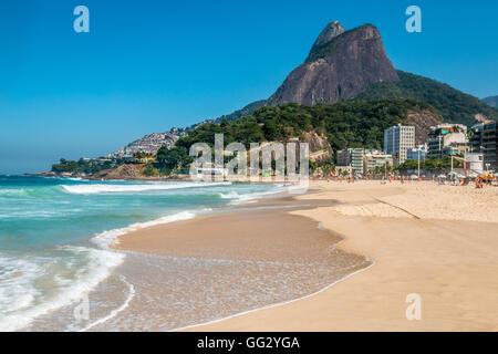 Ipanema beach in Rio de Janeiro - Stock Photo