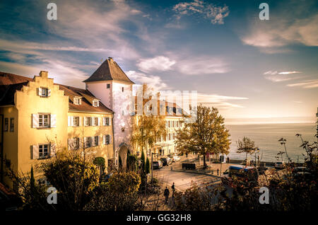 Meersburg on Lake Constance / Bodensee in summer - Stock Photo