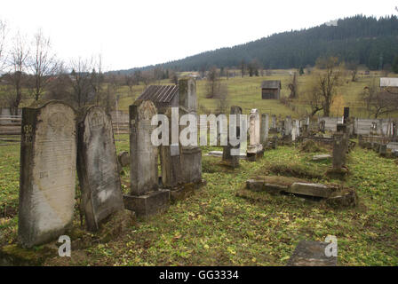 5518. Ancient Jewish cemetery in Compolung Moldavese, Romania - Stock Photo
