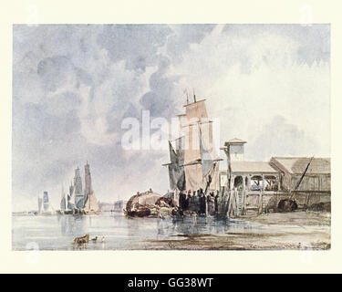 On the Thames, London, after the watecolour by George Chambers - Stock Photo