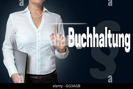 Buchhaltung (in german accounting) touchscreen is operated by businesswoman. - Stock Photo