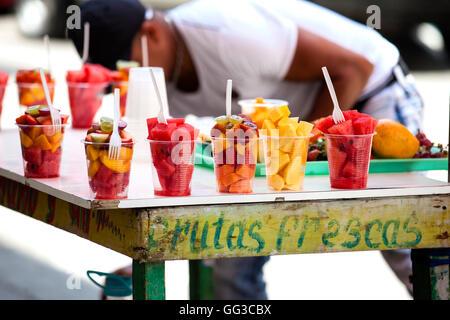 Fruits street vendor in Cartagena de Indias - Stock Photo