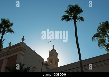 Jaffa, Old City: the bell tower of St. Peter's Church, a Franciscan church built in 1654 - Stock Photo