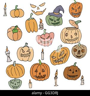 Vector seamless pattern for Halloween. Pumpkin, ghost, candles and other items on  theme. Bright cartoon - Stock Photo