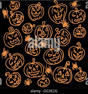 Vector seamless pattern for Halloween. Pumpkin, spiders and other items on  theme. Bright cartoon - Stock Photo