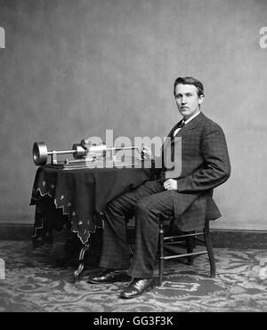 Thomas Edison. Portrait of the American inventor and businessman,Thomas Alva Edison (1847-1931), with his phonograph. - Stock Photo
