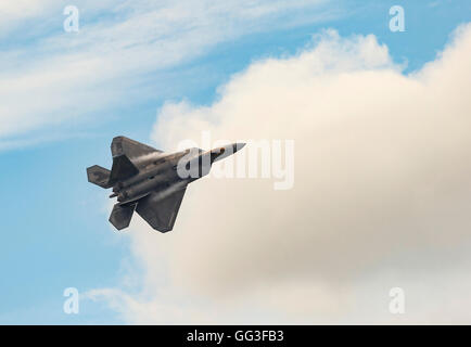 Lockheed Martin F-22A Raptor, USAF, FF AF 09181, with an epic flying display at the Royal International Air Tattoo - Stock Photo