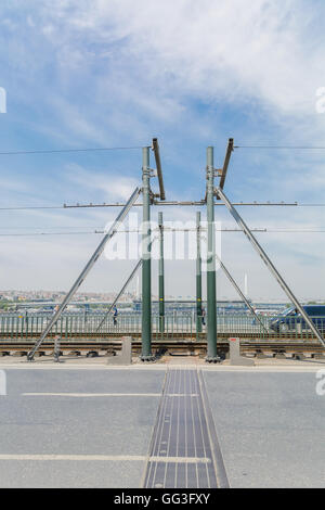 design of metal movable bridge at the junction  its parts. - Stock Photo