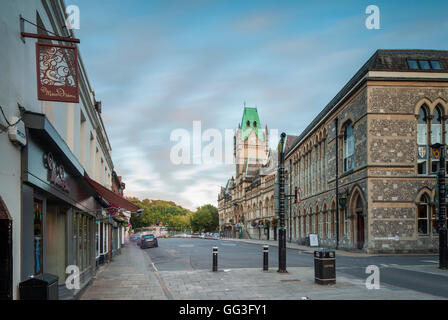 Evening in Winchester, England. Guildhall in the distance. - Stock Photo