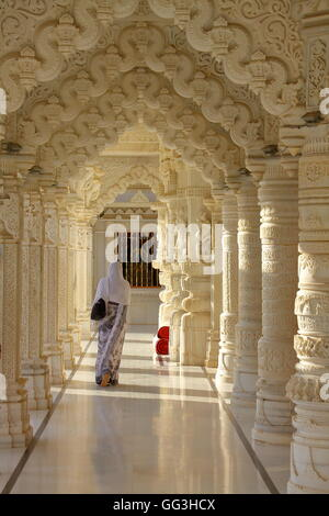 Inside a jain temple in Ahmedabad, Gujarat, India - Stock Photo