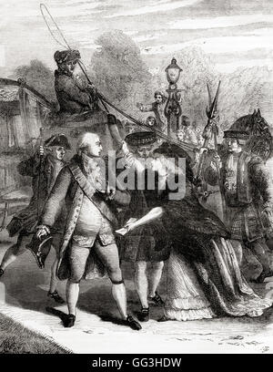 The attempted assassination of king George III in 1786 by Margaret Nicholson, (c. 1750 – 1828). - Stock Photo