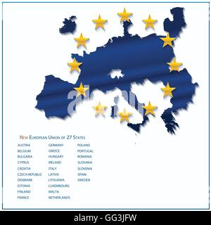 European Union map with new 27 number of states excluding United Kingdom. Vector illustration. - Stock Photo