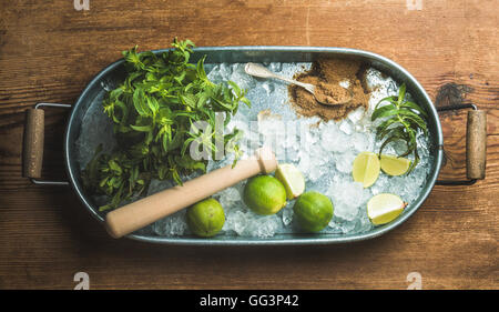 Ingredients for making mojito summer cocktail in metal tray - Stock Photo