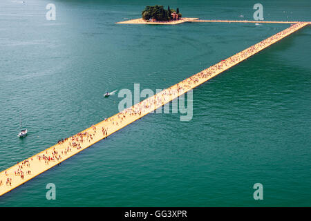 Floating Piers Project for Lake Iseo, Italy, by Christo and Jeanne-Claude. Aerial view of installation to San Paolo - Stock Photo