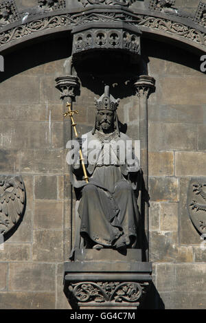 Holy Roman Emperor Charles IV. Statue on the Powder Tower in Prague, Czech Republic. - Stock Photo