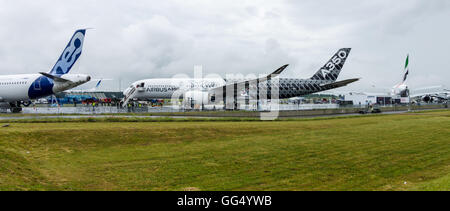 BERLIN, GERMANY - JUNE 02, 2016: The newest Airbus A350 XWB at the airfield. Exhibition ILA Berlin Air Show 2016 - Stock Photo