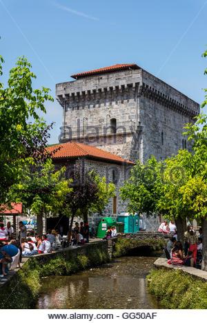 Medieval tower, Lesaka village, Navarre, Northern Spain - Stock Photo