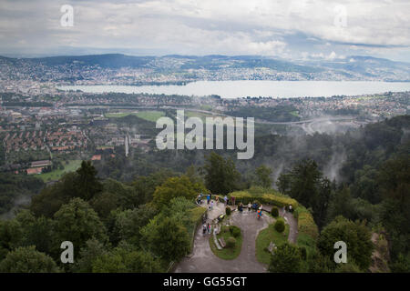 The view over Lake Zurich and Zurich city centre from the top of Üetliberg in Switzerland. - Stock Photo