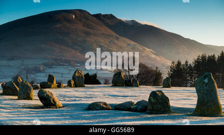 Castlerigg stone circle and Blencathra at dawn. - Stock Photo