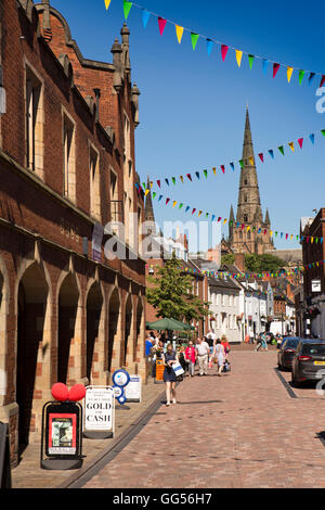 UK, England, Staffordshire, Lichfield, Conduit Square, cathedral spires above city centre - Stock Photo