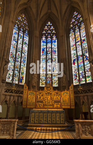 UK, England, Staffordshire, Lichfield, Cathedral, Lady Chapel, the C16th Herkenrode windows and altar - Stock Photo
