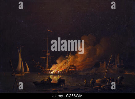 Charles Brooking - Ship on fire at night - Stock Photo